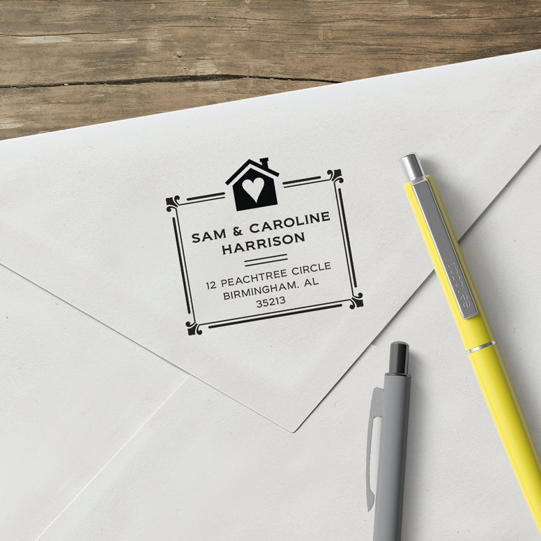 Square House Full Name Couple and Family Return Address Custom Designer Stamp