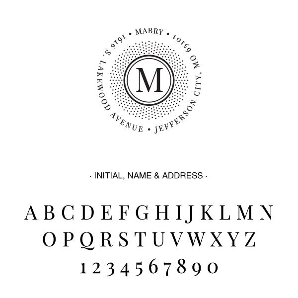 Round Return Address One Letter Monogram Custom Designer Stamp