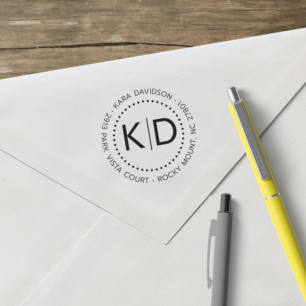Round Return Address Two Letter Monogram Custom Designer Stamp