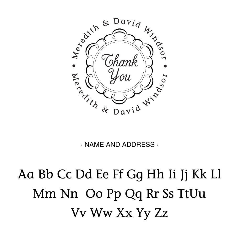 Round Thank You Name Custom Designer Stamp Alphabet and Font Used