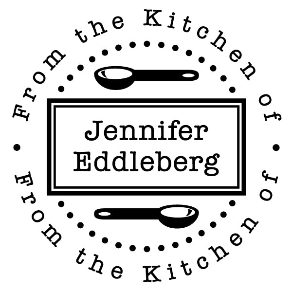 Round From The Kitchen Of Name Custom Designer Stamp