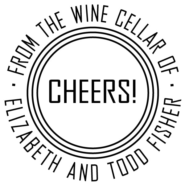 Round Cheers From The Wine Cellar Of Name Custom Designer Stamp