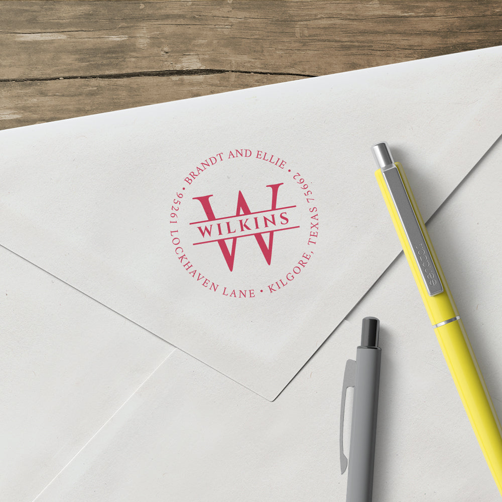 Round Return Address Letter and Last Name Custom Designer Stamp