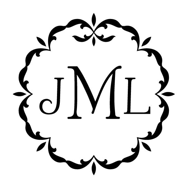 Ornate frame three letter monogram Custom Designer Stamp