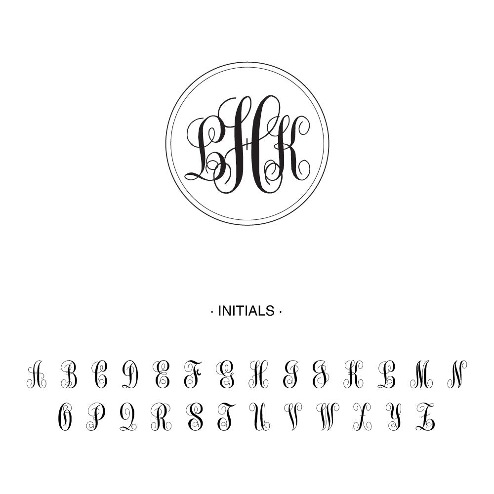 Ornate script circle frame three letter monogram Custom Designer Stamp