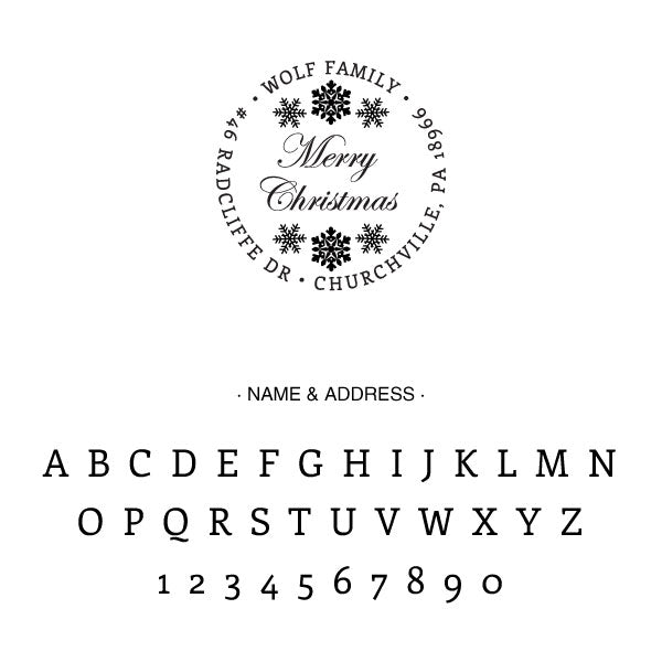 Merry Christmas Round Return Address Custom Designer Stamp