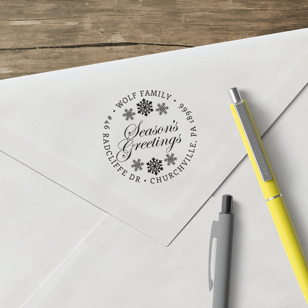 Seasons Greetings Round Return Address Custom Designer Stamp