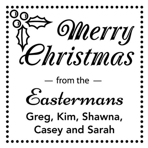 Merry Christmas Square Family Names Custom Designer Stamp