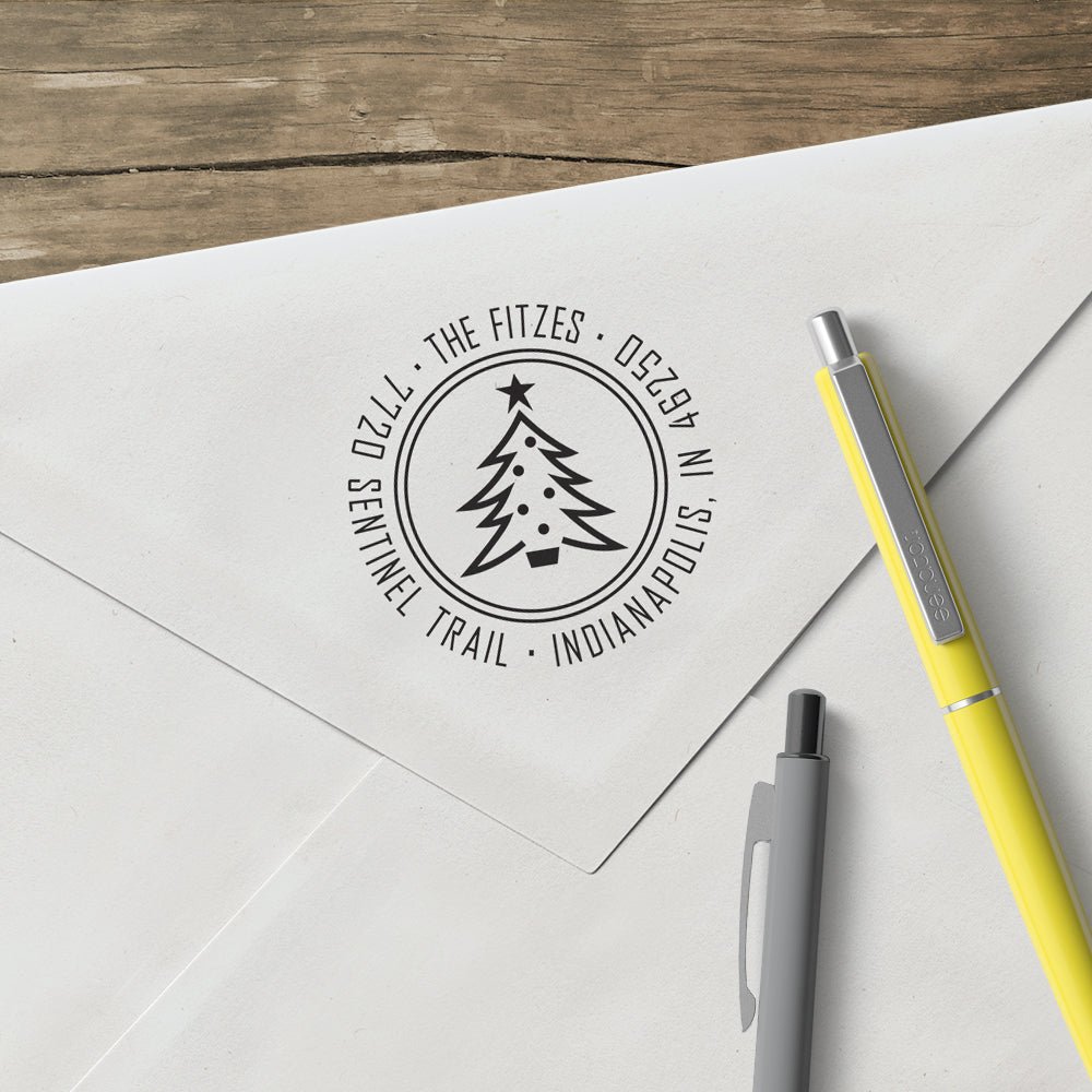 Holiday Christmas Tree Round Return Address Custom Designer Stamp