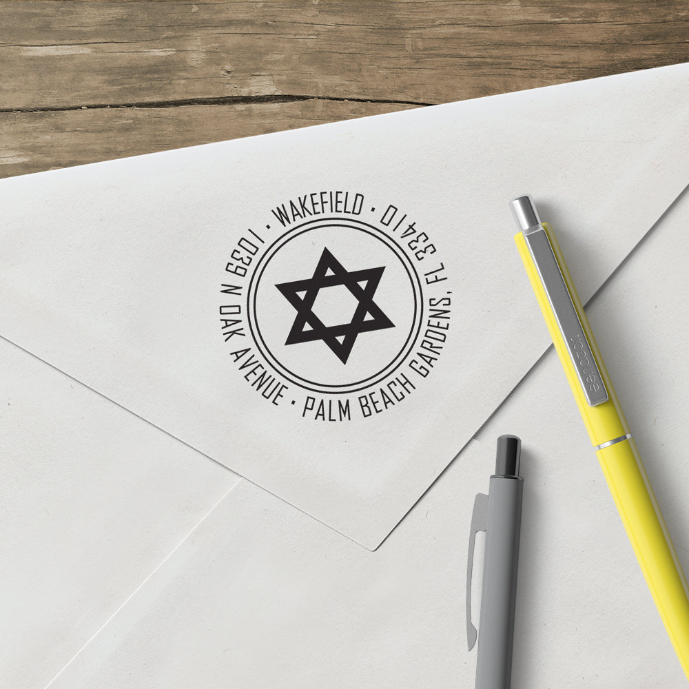 Holiday Star of David Jewish Round Return Address Custom Designer Stamp