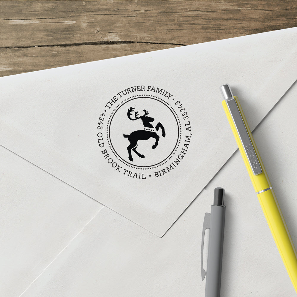 Holiday Reindeer Round Family Return Address Custom Designer Stamp