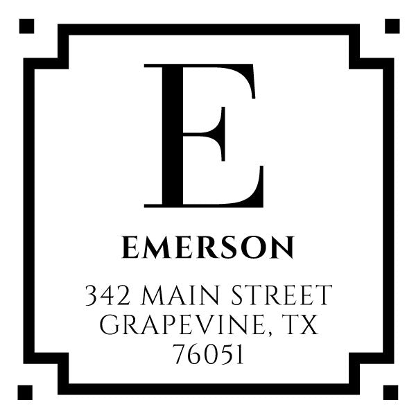 Square Return Address Last Name One Letter Monogram Custom Designer Stamp