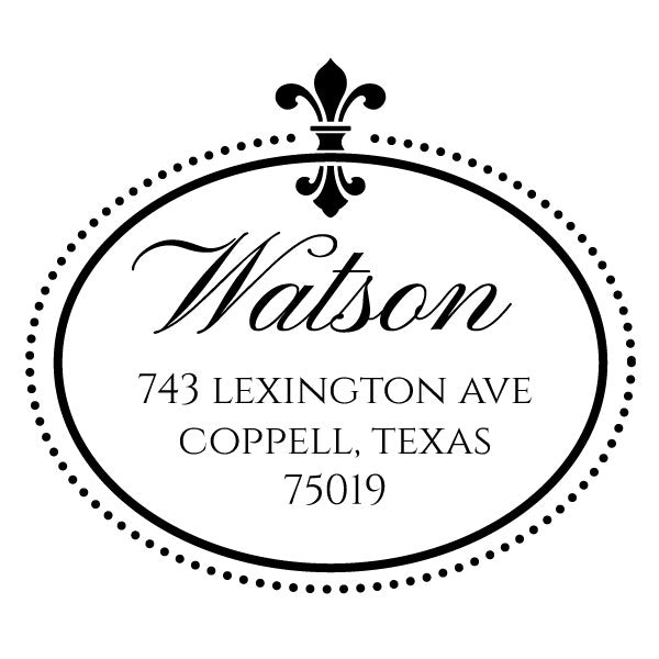 Round Fleur De Lis Return Address Last Name Custom Designer Stamp