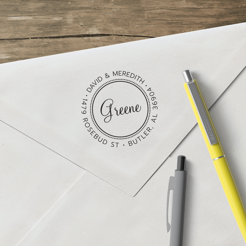 Round Return Address Last Name Custom Designer Stamp