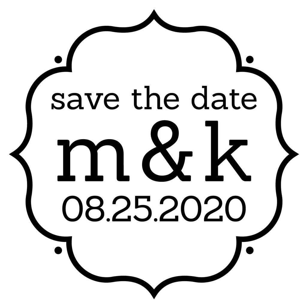 Round Wedding save the date Couple initials and date Custom Designer Stamp