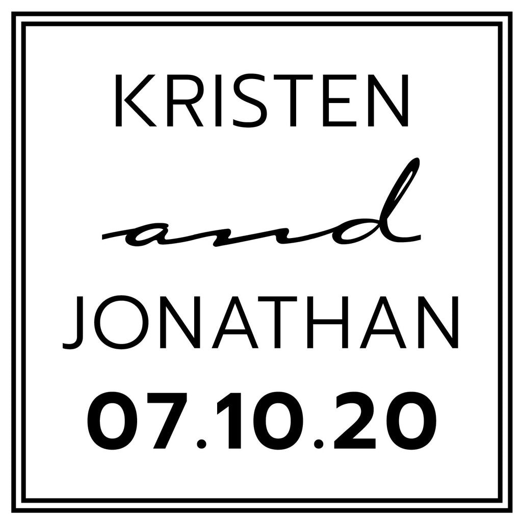 Square Wedding Couple Names and date Custom Designer Stamp