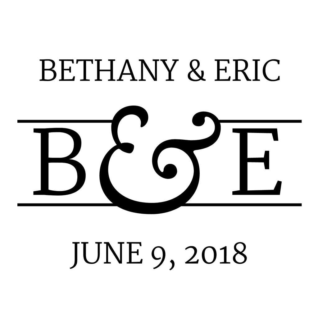Wedding Couple Name, initial and date Custom Designer Stamp