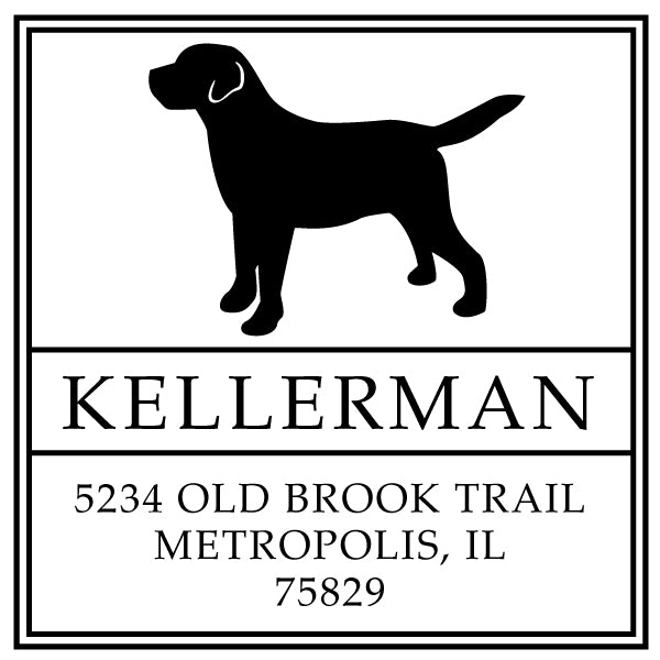 Square Return Address Dog Family Last Name Custom Designer Stamp