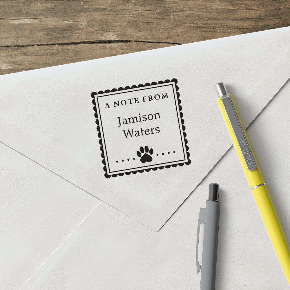 Square Dog A Note From Name Signature Custom Designer Stamp