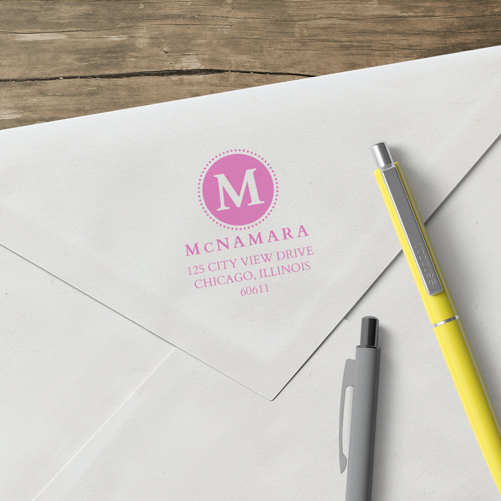 Return Address One Letter Monogram Last Name Custom Designer Stamp
