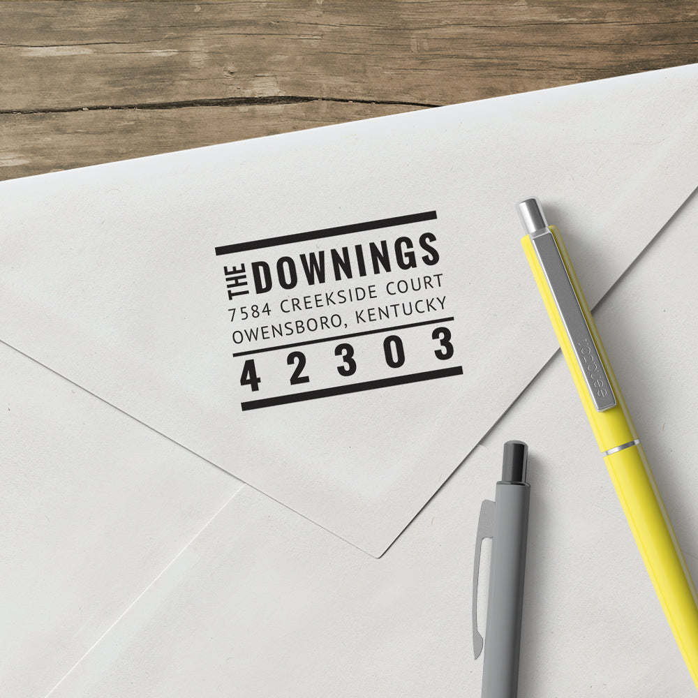 Square Return Address Family and Last Name Custom Designer Stamp