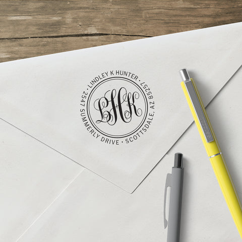 Round Return Address Three Letter Monogram Custom Designer Stamp