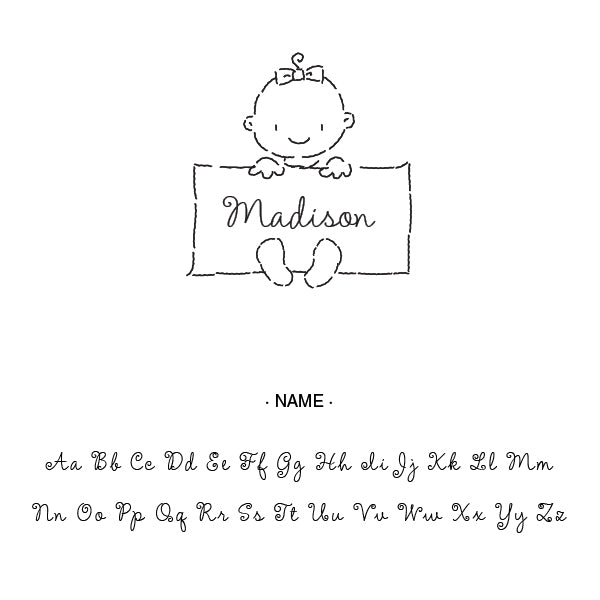 Baby Girl Name Custom Designer Stamp Alphabet and Used Font