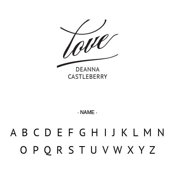 Love Signature Name Custom Designer Stamp Alphabet and Font Used