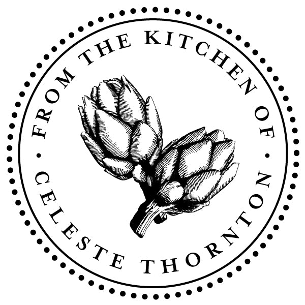 Round Food Artichoke From The Kitchen Of Name Custom Designer Stamp