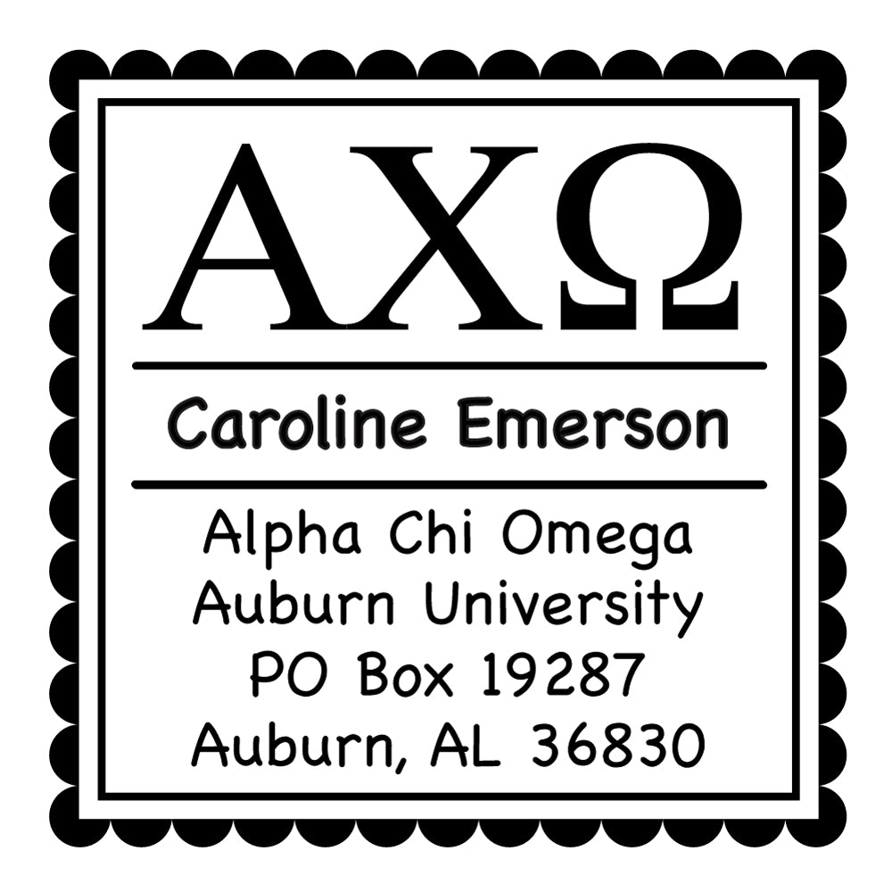 Alpha Chi Omega Scallop Frame Square Return Address Panhellenic Sorority Chapter Custom Designer Stamp Greek