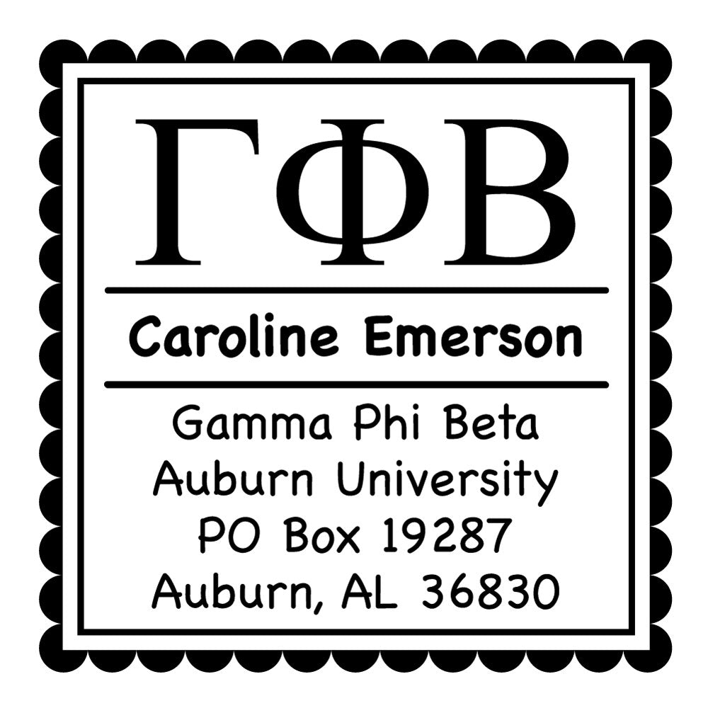 Gamma Phi Beta Scallop Frame Square Return Address Panhellenic Sorority Chapter Custom Designer Stamp Greek