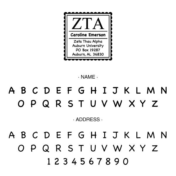 Zeta Tau Alpha Round College Social Symbol Panhellenic Sorority Chapter Custom Designer Stamp Greek