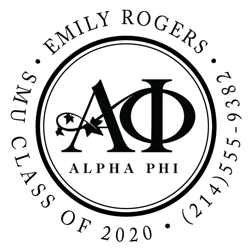 Alpha Phi Scallop Round College Social Symbol Panhellenic Sorority Chapter Custom Designer Stamp Greek