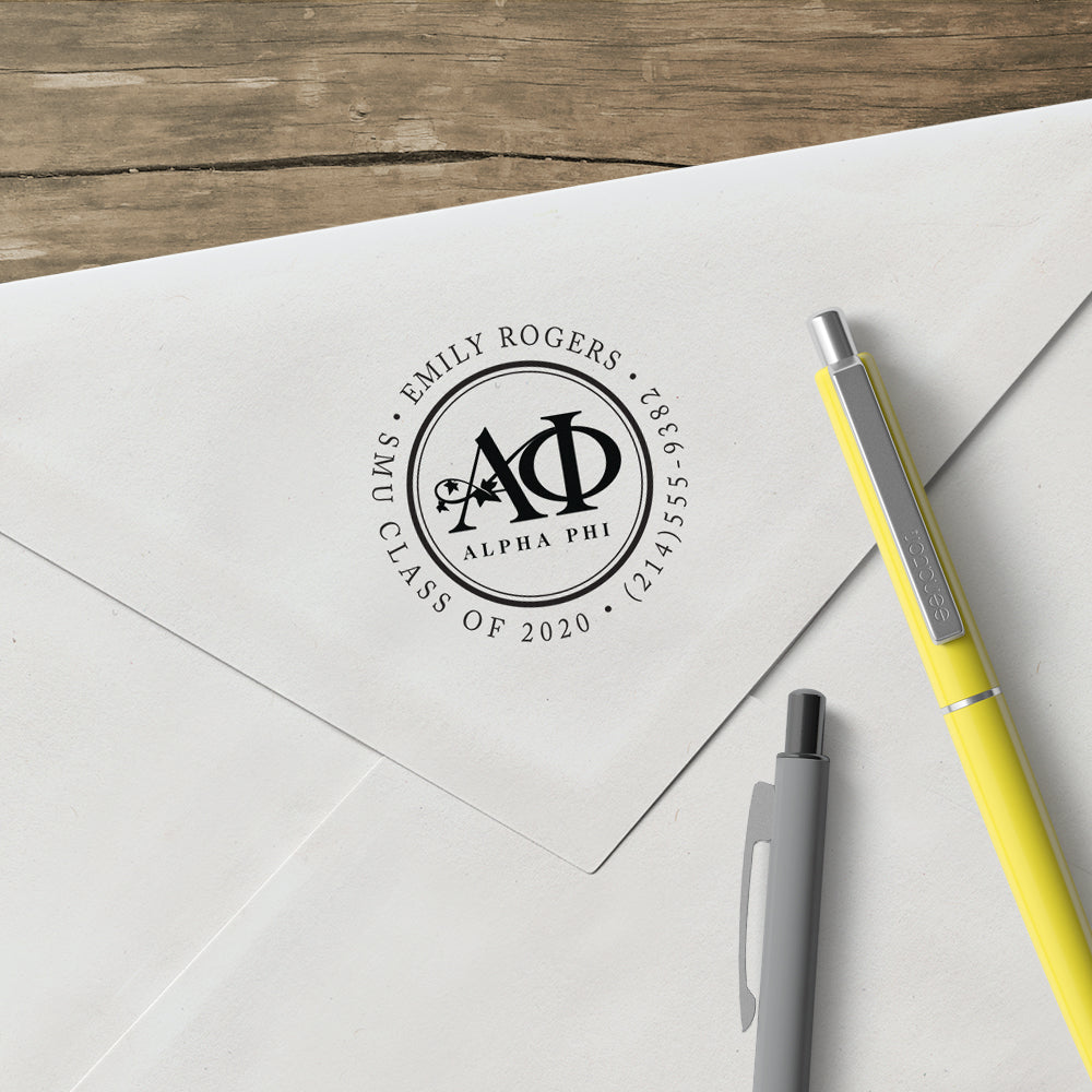 Alpha Phi Round College Social Symbol Panhellenic Sorority Chapter Custom Designer Stamp Greek