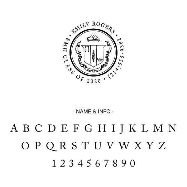 Gamma Phi Beta Round College Social Symbol Panhellenic Sorority Chapter Custom Designer Stamp Greek