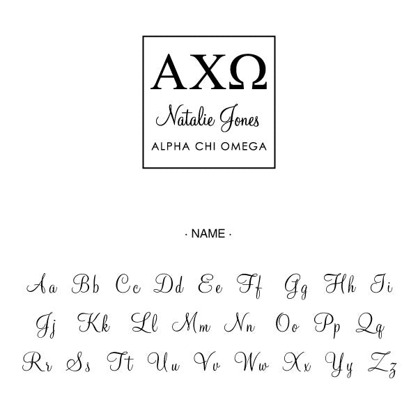 Alpha Chi Omega Square College Social Symbol Panhellenic Sorority Chapter Custom Designer Stamp Greek