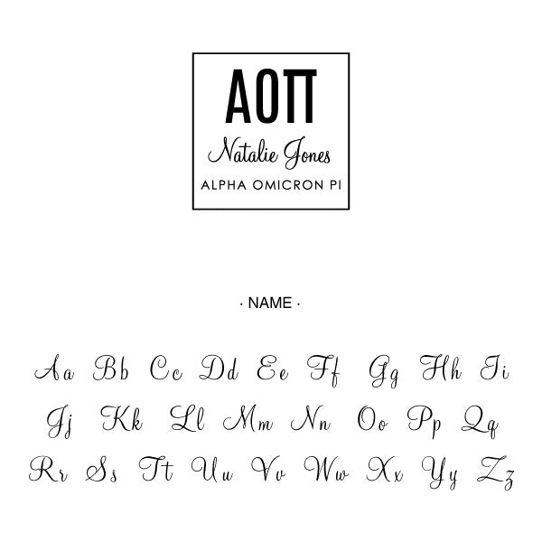 Alpha Omicron Pi Square College Social Symbol Panhellenic Sorority Chapter Custom Designer Stamp Greek