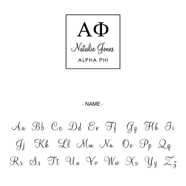 Alpha Phi Square College Social Symbol Panhellenic Sorority Chapter Custom Designer Stamp Greek