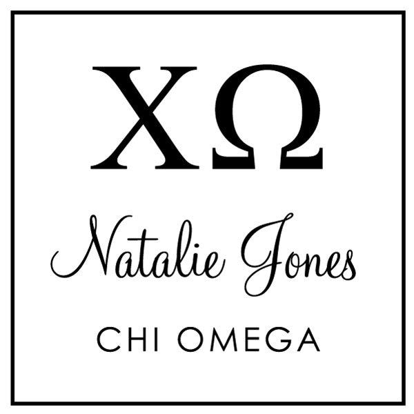 Chi Omega Square College Social Symbol Panhellenic Sorority Chapter Custom Designer Stamp Greek