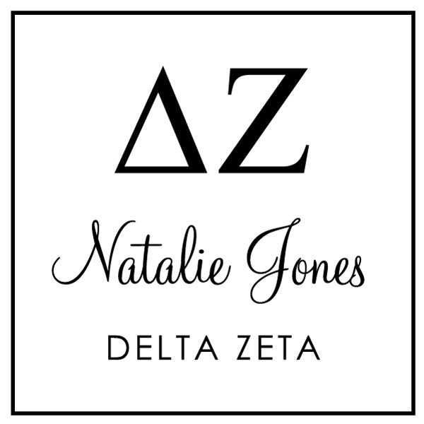 Delta Zeta Square College Social Symbol Panhellenic Sorority Chapter Custom Designer Stamp Greek