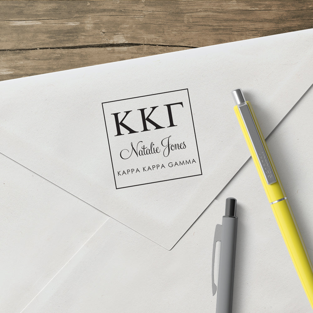 Kappa Kappa Gamma Square College Social Symbol Panhellenic Sorority Chapter Custom Designer Stamp Greek