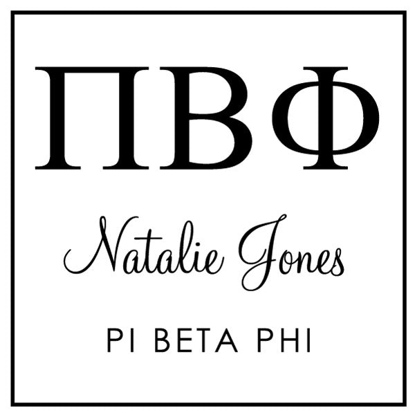 Pi Beta Phi Square College Social Symbol Panhellenic Sorority Chapter Custom Designer Stamp Greek