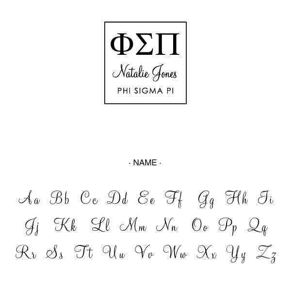 Phi Sigma Pi Square College Social Symbol Panhellenic Sorority Chapter Custom Designer Stamp Greek