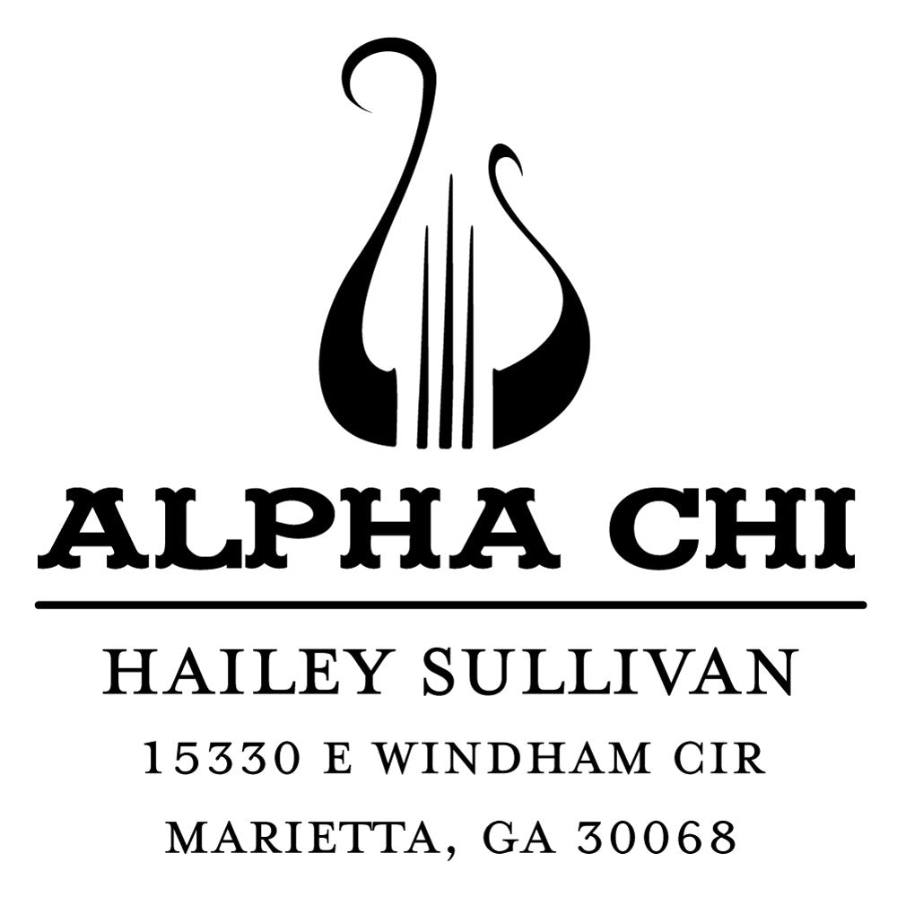 Alpha Chi Omega College Panhellenic Sorority Chapter Name Return Address Custom Designer Stamp