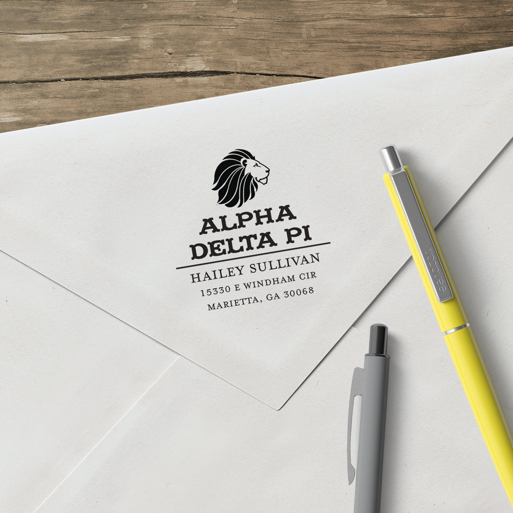 Alpha Delta Pi College Panhellenic Sorority Chapter Name Return Address Custom Designer Stamp