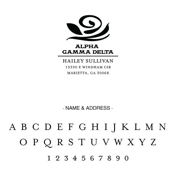Alpha Gamma Delta College Panhellenic Sorority Chapter Name Return Address Custom Designer Stamp