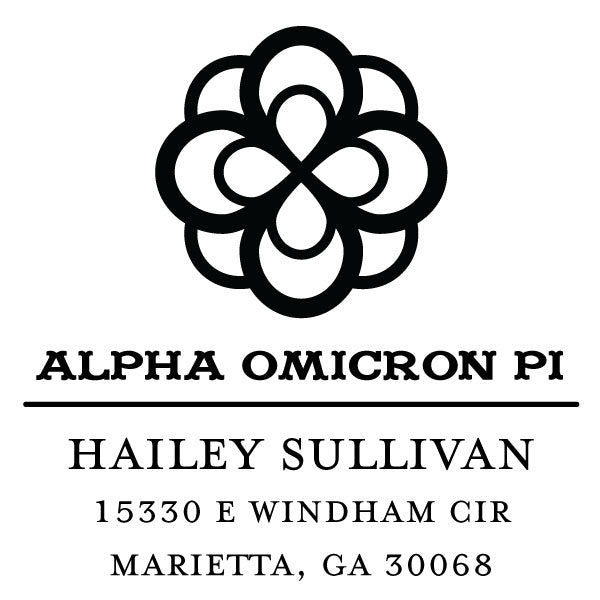 Alpha Omicron Pi College Panhellenic Sorority Chapter Name Return Address Custom Designer Stamp