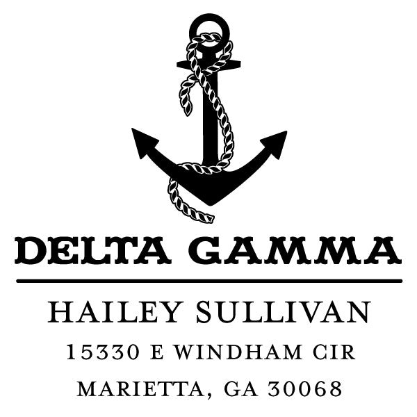 Delta Gamma College Panhellenic Sorority Chapter Name Return Address Custom Designer Stamp