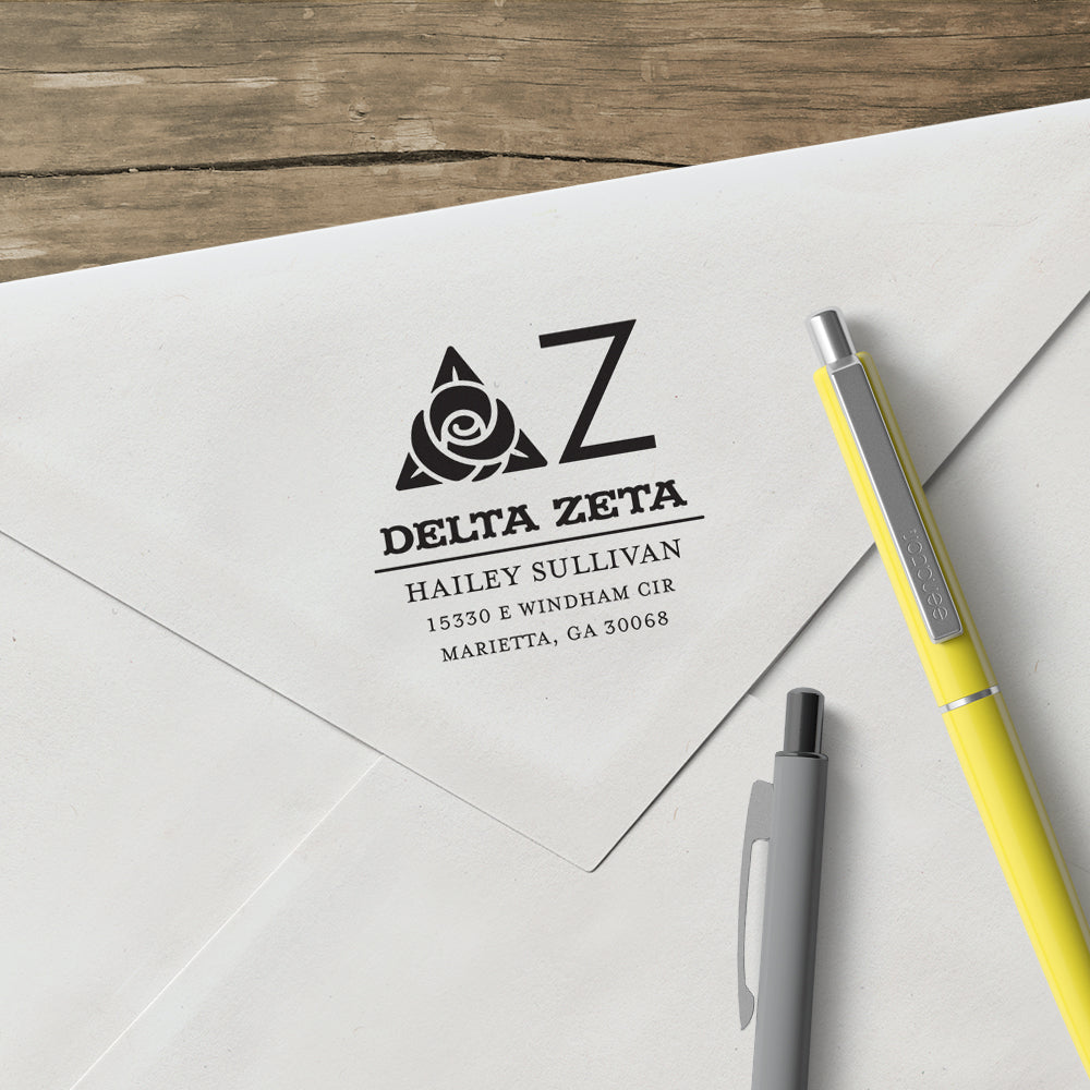 Delta Zeta College Panhellenic Sorority Chapter Name Return Address Custom Designer Stamp