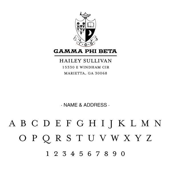 Gamma Phi Beta College Panhellenic Sorority Chapter Name Return Address Custom Designer Stamp